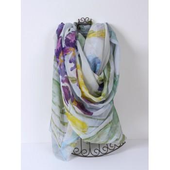 Iris Scarf, large 100% silk